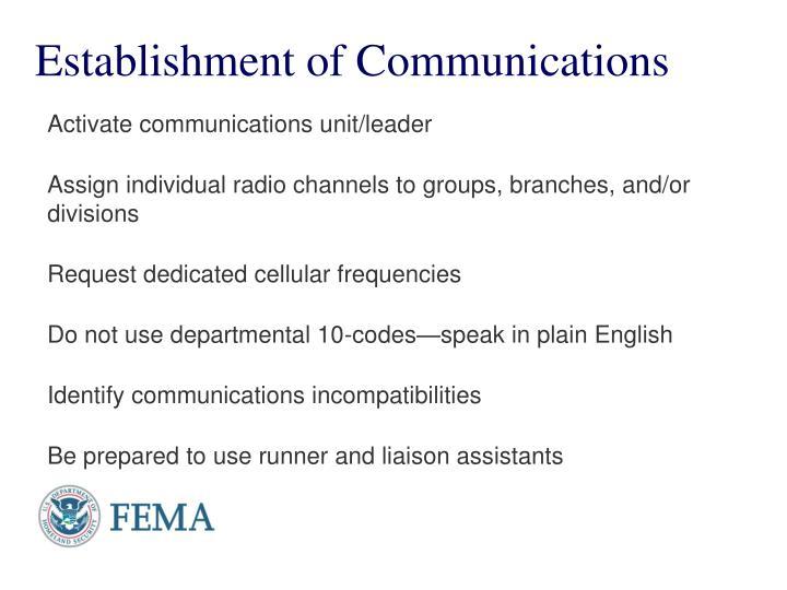 Establishment of Communications