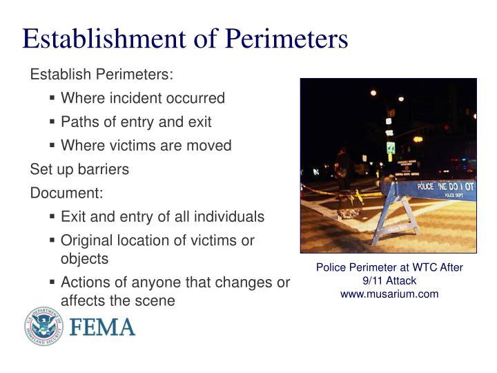 Establishment of Perimeters
