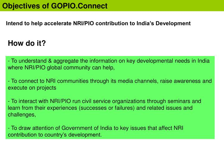 Objectives of GOPIO.Connect