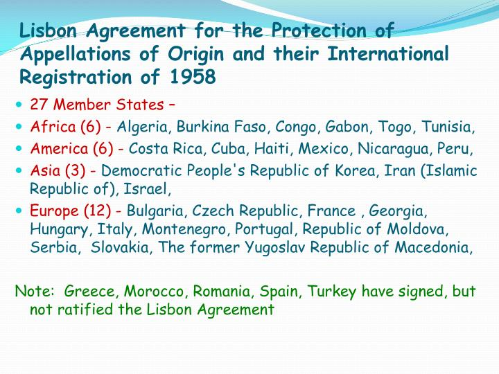 Lisbon Agreement for the Protection of Appellations of Origin and their International Registration of 1958