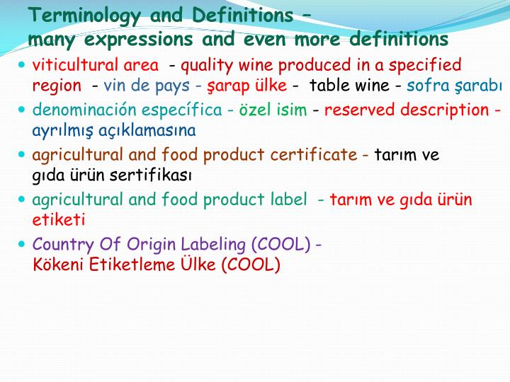 Terminology and definitions many expressions and even more definitions1