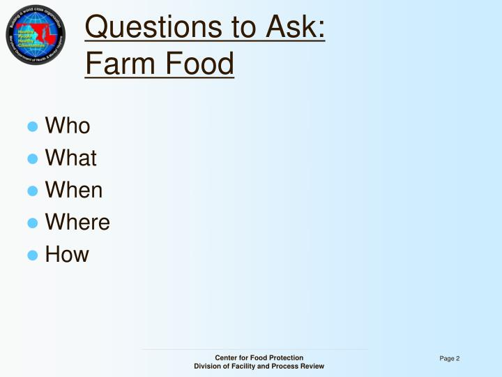 Questions to ask farm food