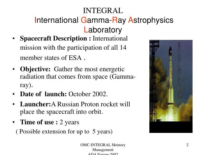 Integral i nternational g amma r ay a strophysics l aboratory