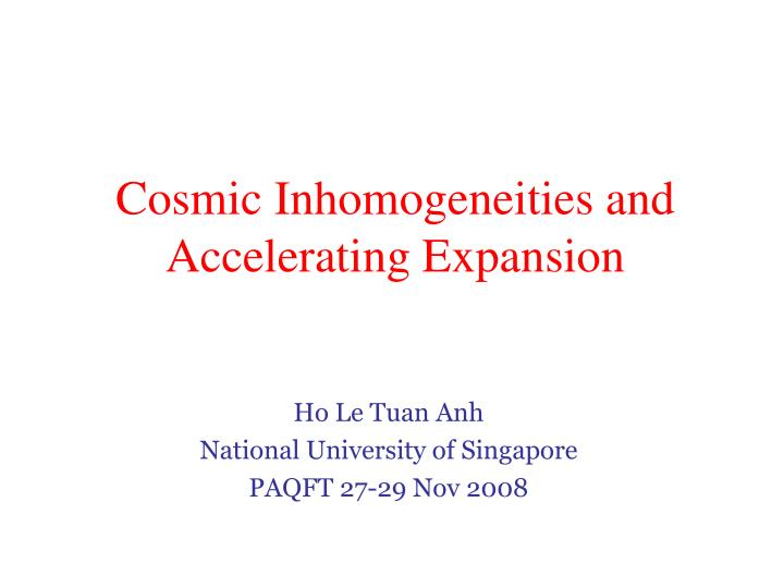 Cosmic inhomogeneities and accelerating expansion