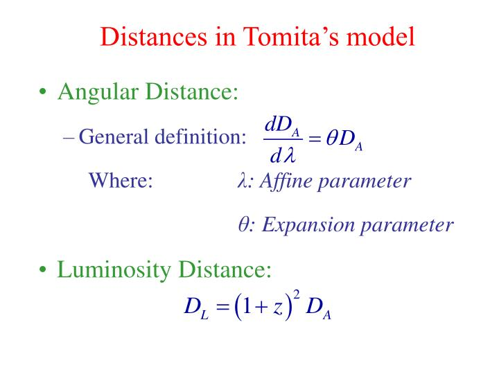 Distances in Tomita's model