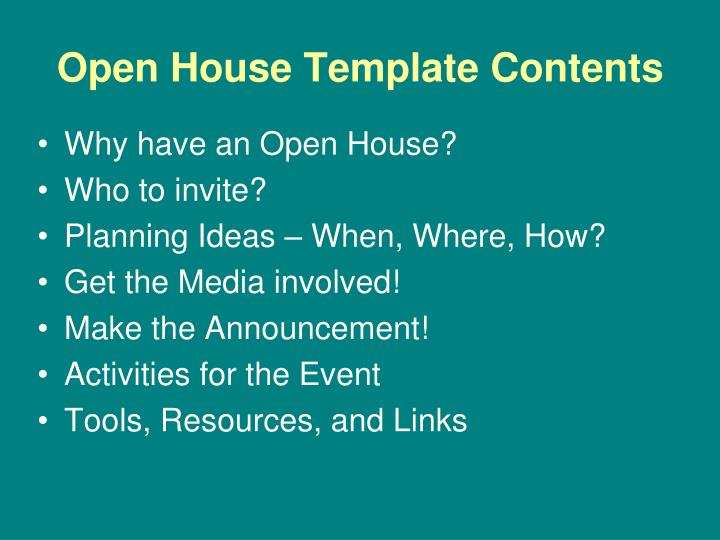 Open house template contents