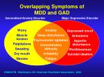 overlapping symptoms of mdd and gad
