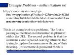 example problems authentication url