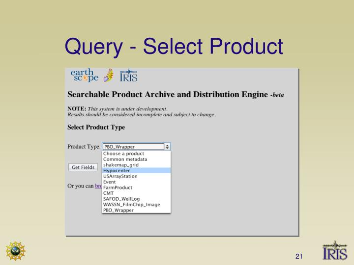 Query - Select Product