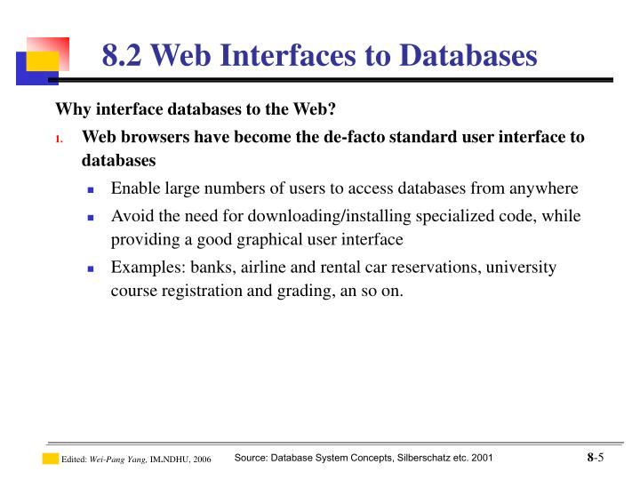 Why interface databases to the Web?
