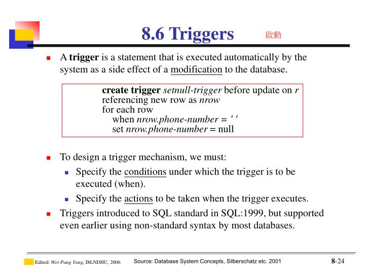 8.6 Triggers