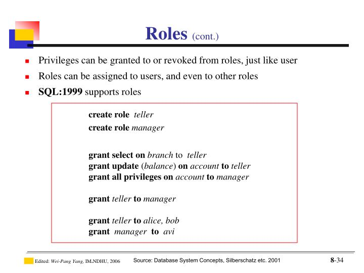 Privileges can be granted to or revoked from roles, just like user