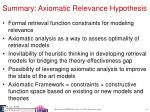 summary axiomatic relevance hypothesis