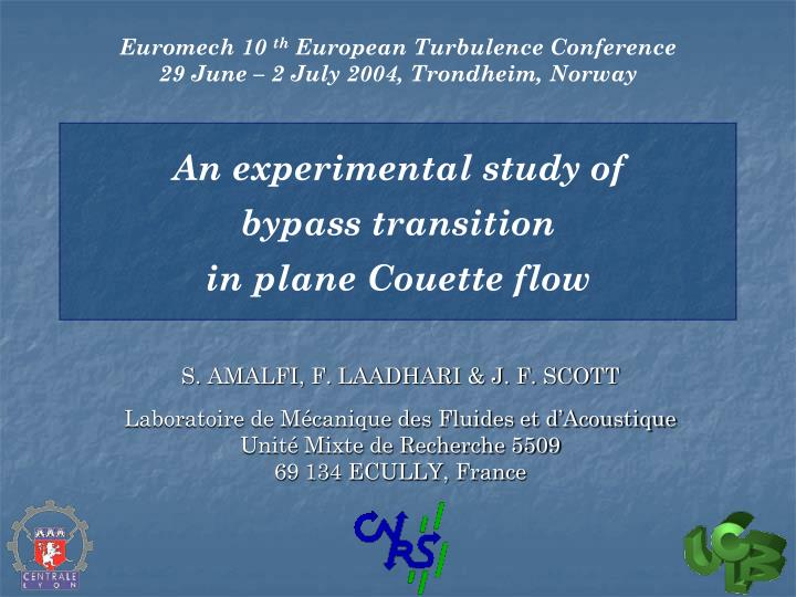 an experimental study of bypass transition in plane couette flow n.