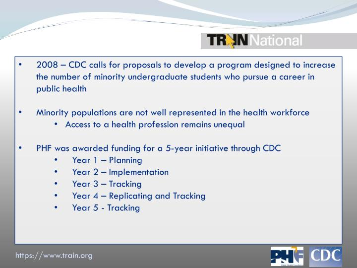 2008 – CDC calls for proposals to develop a program designed to increase the number of minority undergraduate students who pursue a career in public health