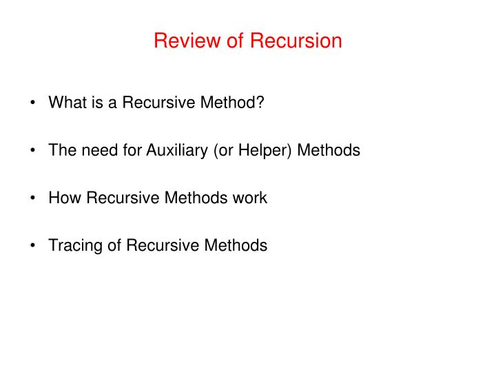 review of recursion n.