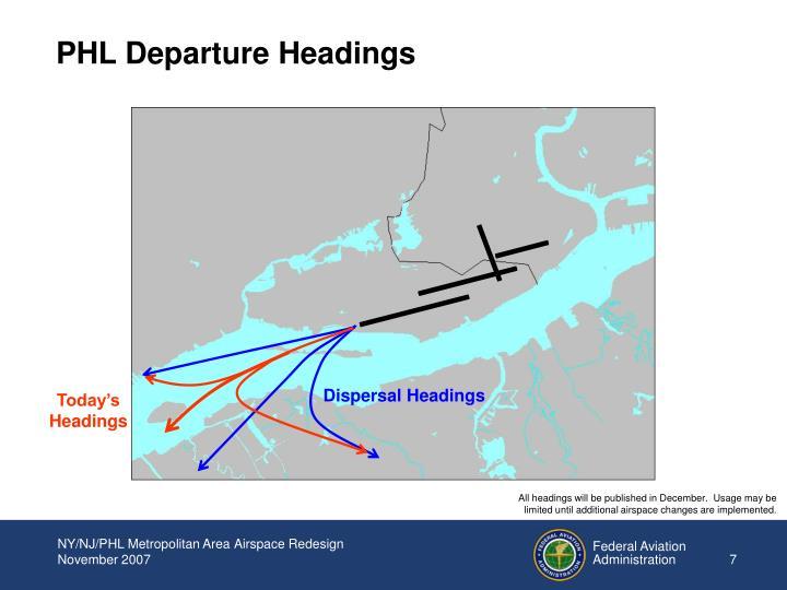 PHL Departure Headings