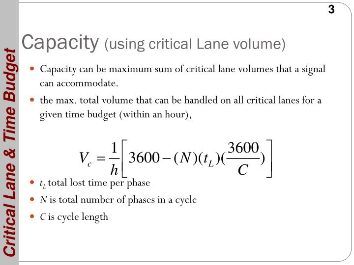 Capacity using critical lane volume