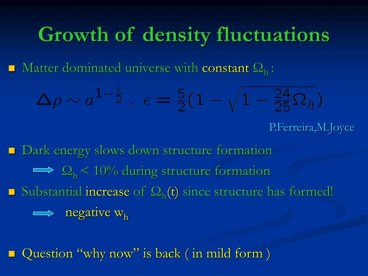 Growth of density fluctuations