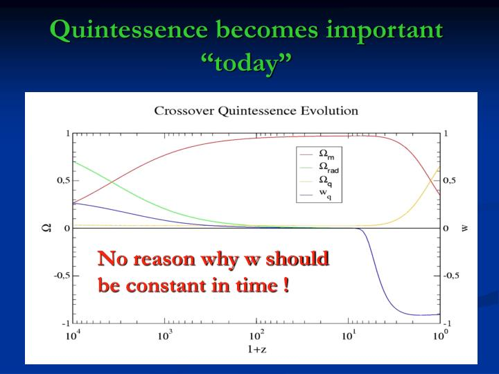 "Quintessence becomes important ""today"""