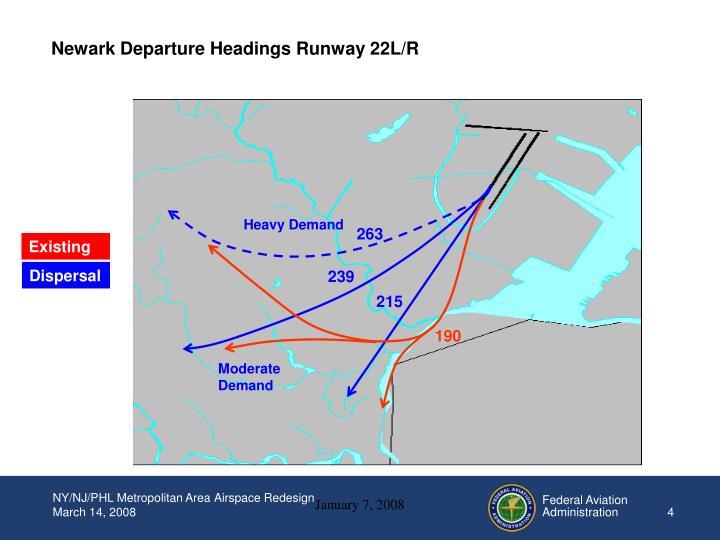 Newark Departure Headings Runway 22L/R
