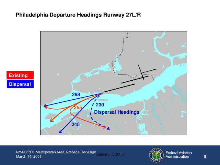Philadelphia Departure Headings Runway 27L/R