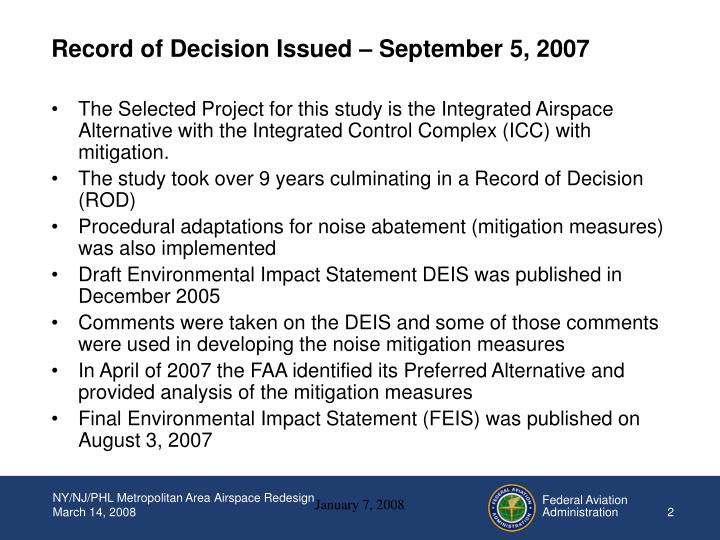 Record of decision issued september 5 2007