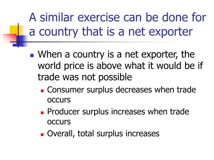 A similar exercise can be done for a country that is a net exporter