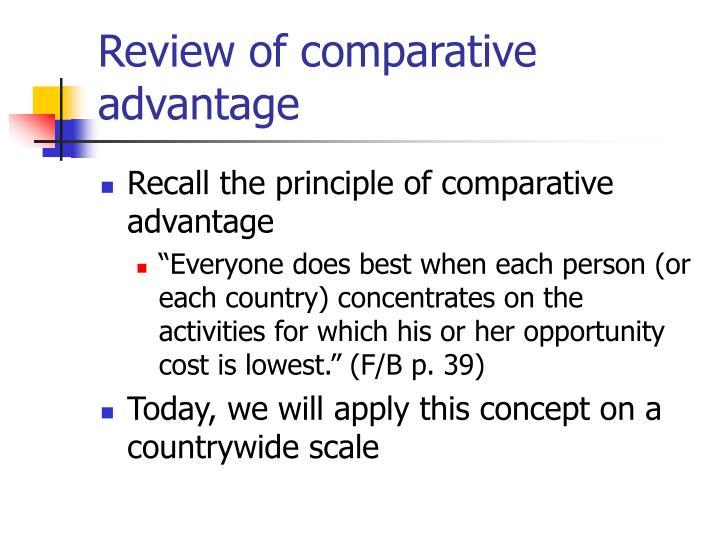 Review of comparative advantage