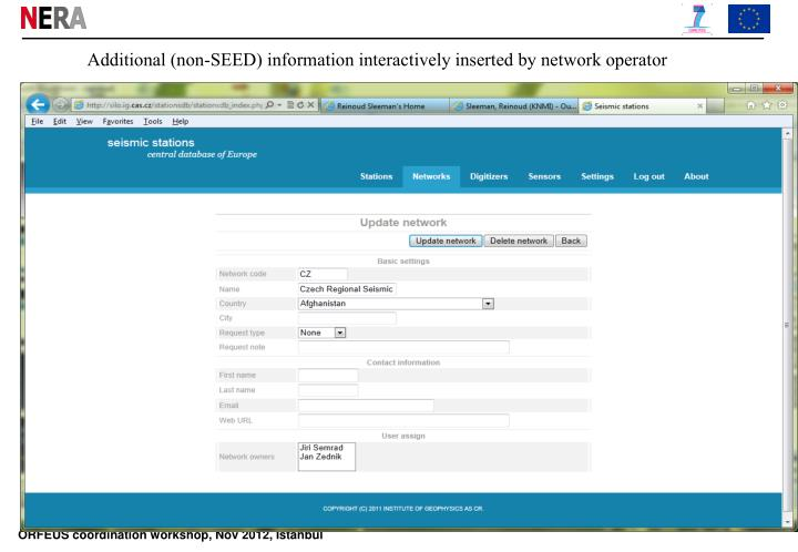 Additional (non-SEED) information interactively inserted by network operator