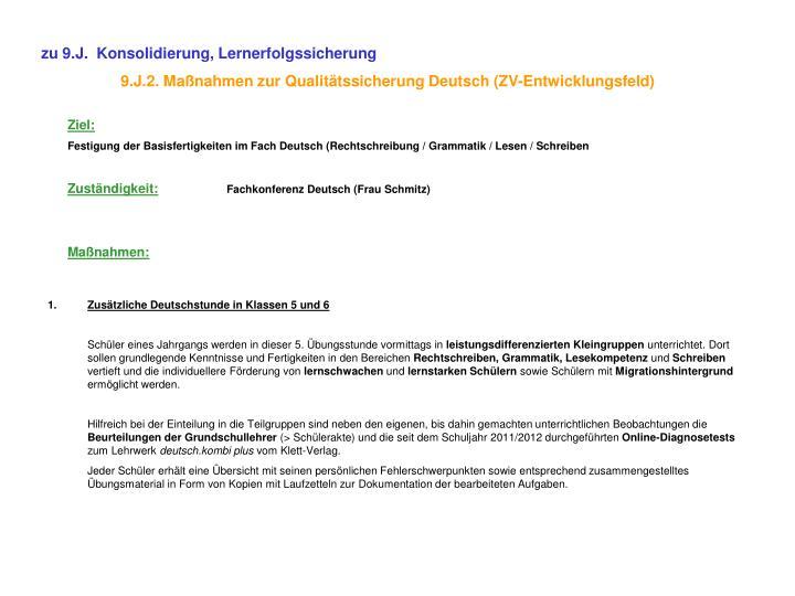 zu 9.J.  Konsolidierung, Lernerfolgssicherung