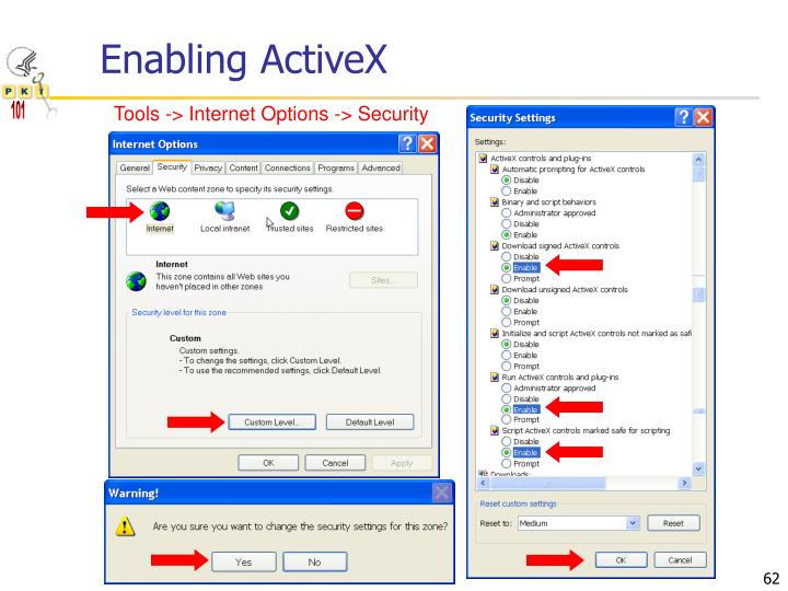 Enabling ActiveX