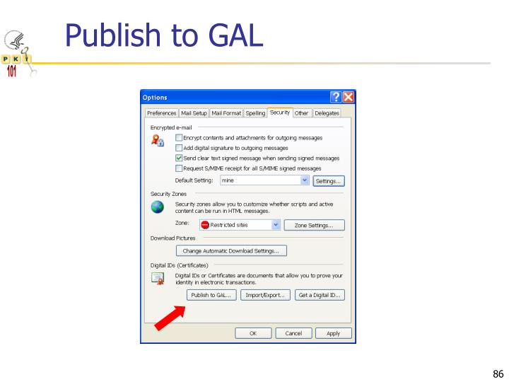 Publish to GAL