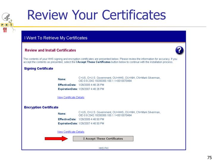Review Your Certificates