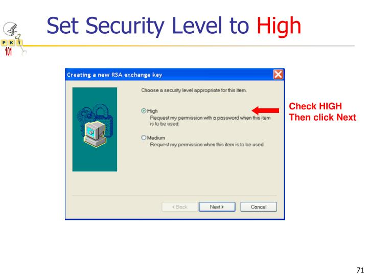 Set Security Level to