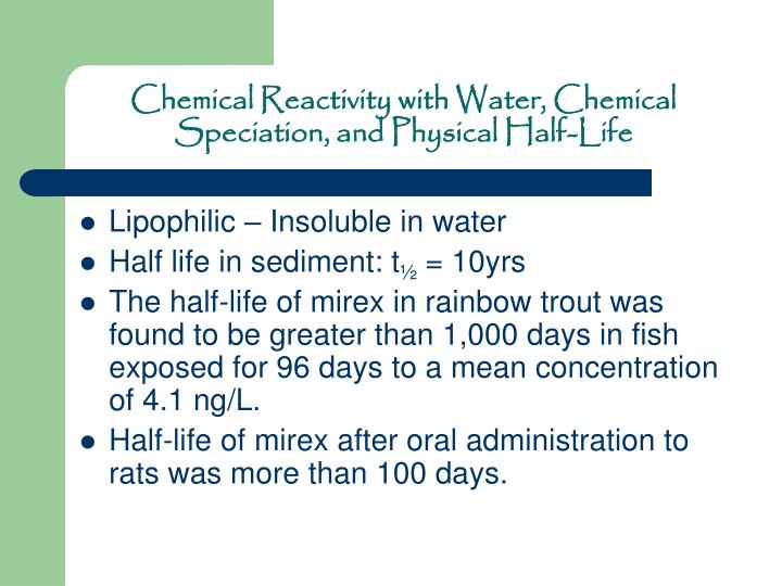 Chemical Reactivity with Water, Chemical Speciation, and Physical Half-Life