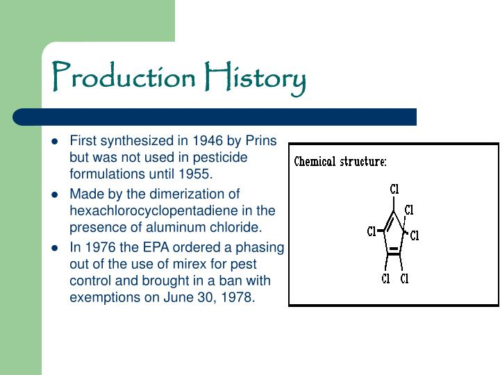 First synthesized in 1946 by Prins but was not used in pesticide formulations until 1955.