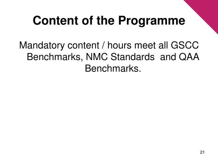 Content of the Programme