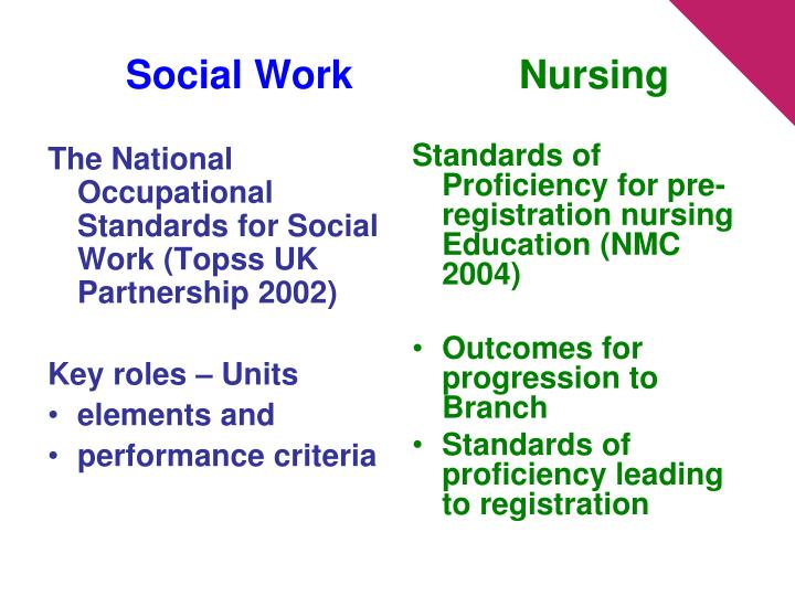 The National Occupational Standards for Social Work (Topss UK Partnership 2002)