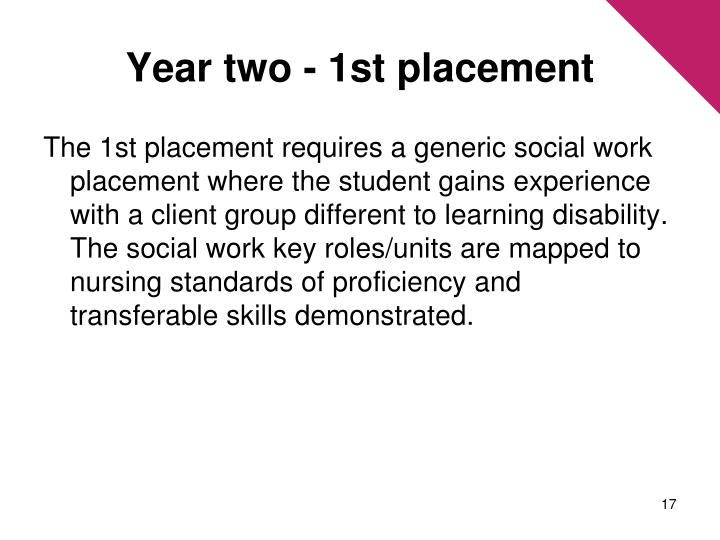 Year two - 1st placement