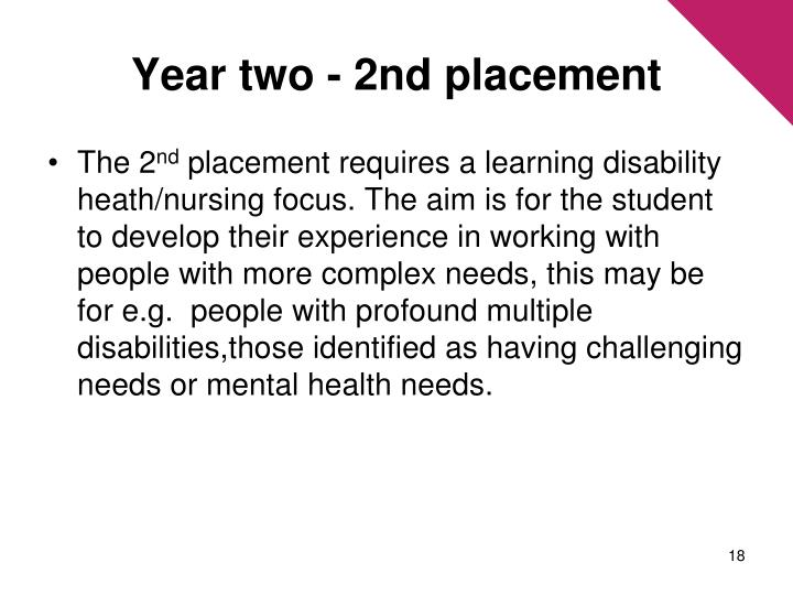 Year two - 2nd placement