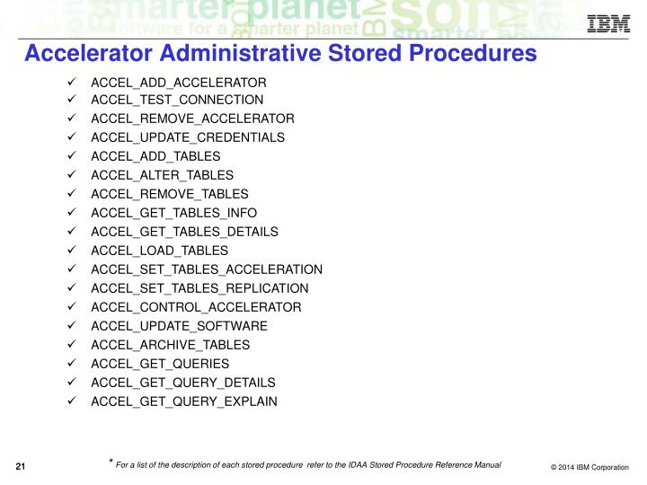 Accelerator Administrative Stored Procedures
