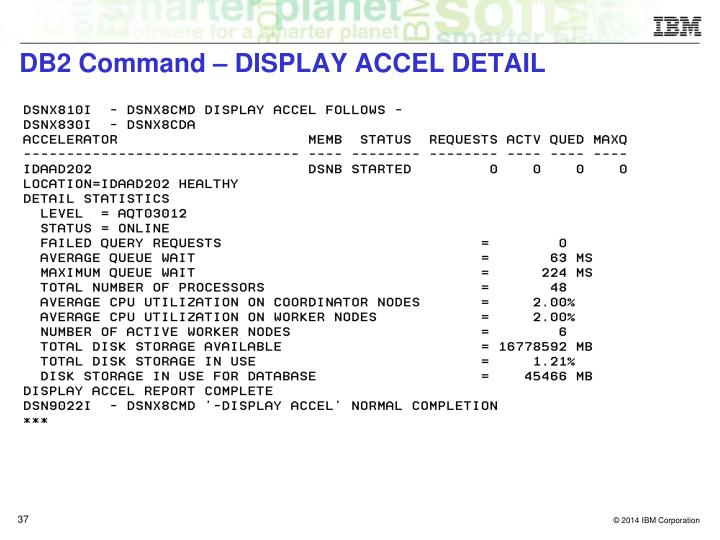 DB2 Command – DISPLAY ACCEL DETAIL