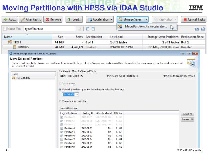 Moving Partitions with HPSS via IDAA Studio