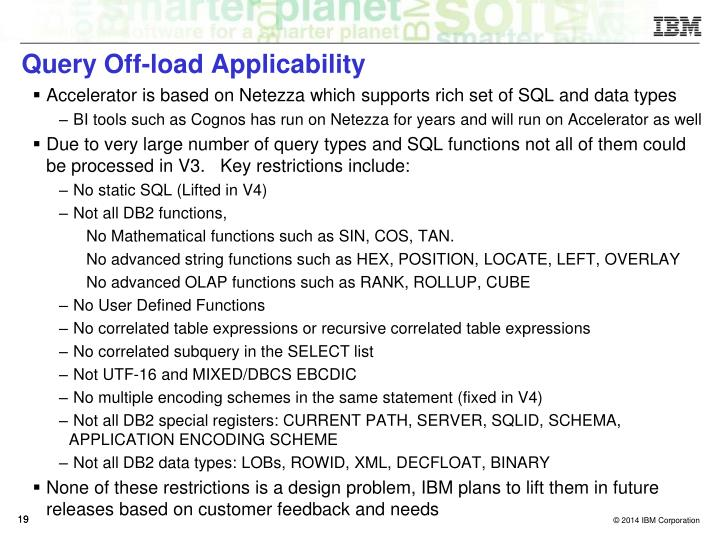 Query Off-load Applicability