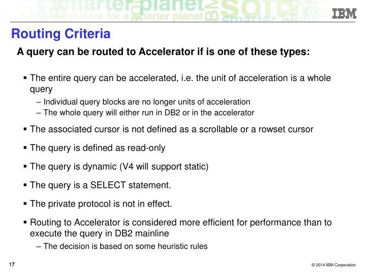 Routing Criteria