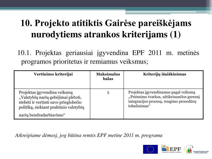 10. Projekto atitiktis Gairėse pareiškėjams nurodytiems atrankos kriterijams (1)