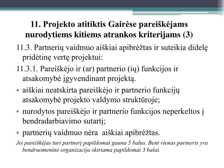 11. Projekto atitiktis Gairėse pareiškėjams nurodytiems kitiems atrankos kriterijams (3)
