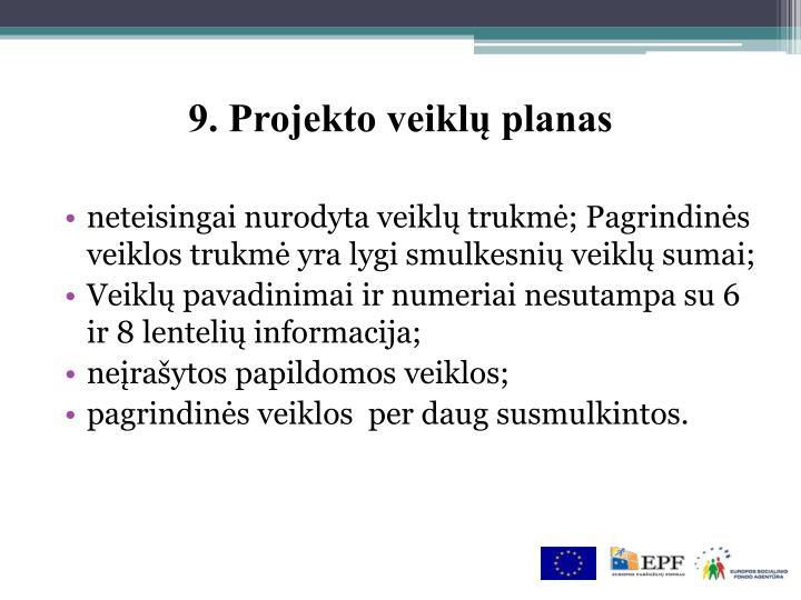 9. Projekto veiklų planas