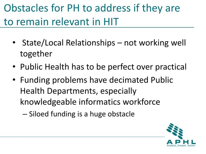 Obstacles for PH to address if they are to remain relevant in HIT